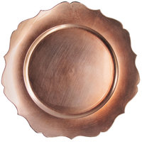 The Jay Companies 1270467 Rose Gold Scallop Round Polypropylene Charger Plate
