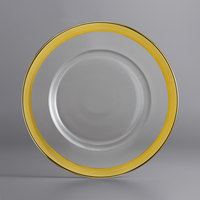 The Jay Companies 1875002GD 13 inch Gold Rim Round Glass Charger Plate