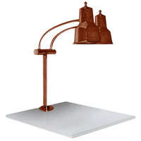 Hanson Heat Lamps EDL/WB/SC Economy Dual Bulb 11 inch x 18 inch Smoked Copper Carving Station with White Solid Base