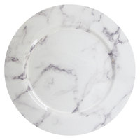 The Jay Companies 1270526 13 inch White and Gray Marble Melamine Charger Plate