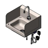 T&S CH-3101-S 17 1/4 inch x 15 1/4 inch Hand Sink with Deck Mount ChekPoint Electronic 11 inch Gooseneck Faucet with Drain Assembly and Splash Guards