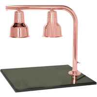 Hanson Heat Lamps FLD/BB/BCOP Dual Bulb 20 inch x 24 inch Bright Copper Carving Station with Synthetic Granite Base