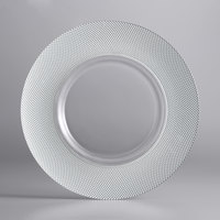 The Jay Companies 1875001SI 13 inch Glass Charger Plate with Wide Silver Beaded Edge