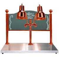 Hanson Heat Lamps DLM/HB/DL/2036/SC Dual Bulb 20 inch x 36 inch Smoked Copper Carving Station with Heated Stainless Steel Base and Sneeze Guard - 120V
