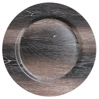 The Jay Companies 1270505 13 inch Walnut Faux Wood Charger Plate