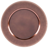 The Jay Companies 1270466 13 inch Rose Gold Beaded Round Melamine Charger Plate