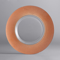 The Jay Companies 1875001CP 13 inch Glass Charger Plate with Wide Copper Beaded Edge