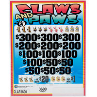 Claws and Paws 5 Window Pull Tab Tickets - 3600 Tickets per Deal - Total Payout: $2887