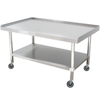 Advance Tabco ES-306C 30 inch x 72 inch Stainless Steel Equipment Stand with Stainless Steel Undershelf and Casters