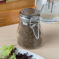 Tablecraft H3S&P 3.5 oz. Resealable Salt and Pepper Shaker Glass Jar with Stainless Steel Clip-Top Lid