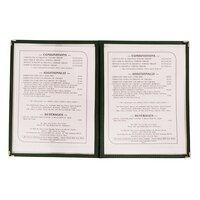 8 1/2 inch x 11 inch Two Pocket Clear Menu Cover - Hunter Green