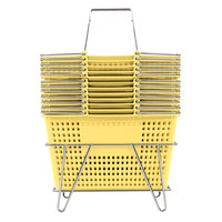 Yellow 17 1/4 inch x 11 inch Plastic Grocery Market Shopping Basket Set with Stand