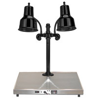 Hanson Heat Lamps DLM/HB/B/2024 Dual Bulb 20 inch x 24 inch Black Carving Station with Heated Stainless Steel Base - 220V