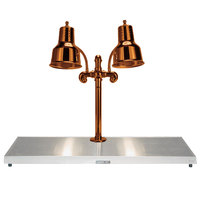 Hanson Heat Lamps DLM/HB/SC/2036 Dual Bulb 20 inch x 36 inch Smoked Copper Carving Station with Heated Stainless Steel Base - 220V