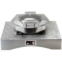 Tablecraft CW40201RSA 25 inch x 22 inch x 5 inch Random Swirl Aluminum Countertop Induction Station Kit