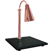 Hanson Heat Lamps SLM/BB/900ST/BCOP Single Lamp Streamline Style 20 inch x 24 inch Bright Copper Carving Station with Synthetic Granite Base