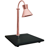 Hanson Heat Lamps SLM/BB/300ST/BCOP Single Lamp Streamline Style 18 inch x 20 inch Bright Copper Carving Station with Synthetic Granite Base