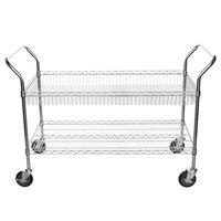 Regency Chrome One Shelf and One Basket Utility Cart - 24 inch x 48 inch x 36 inch