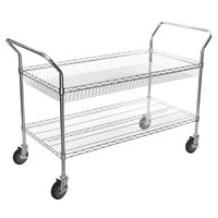 Regency Chrome One Shelf and One Basket Utility Cart - 24 inch x 48 inch x 36 inch