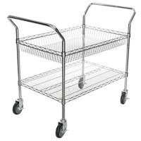 Regency Chrome One Shelf and One Basket Utility Cart - 24 inch x 36 inch x 36 inch