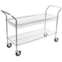 Regency Chrome One Shelf and One Basket Utility Cart - 18 inch x 48 inch x 36 inch