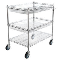 Regency Chrome Two Basket and One Shelf Utility Cart - 24 inch x 36 inch x 39 inch
