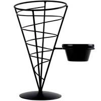 Tablecraft ACR57 Vertigo Round Appetizer Wire Cone Basket with 1 Ramekin - 5 inch x 7 inch