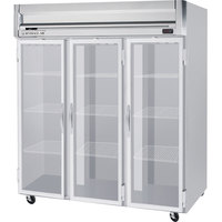 Beverage Air HFS3-5G-LED 3 Section Glass Door Reach-In Freezer - 74 cu. ft., Stainless Steel Front, Gray Exterior, Stainless Steel Interior