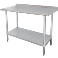 Advance Tabco FMSLAG-244 24 inch x 48 inch 16-Gauge 304 Stainless Steel Heavy-Duty Work Table with Undershelf and 1 1/2 inch Backsplash