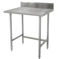 Advance Tabco TKLAG-242 24 inch x 24 inch 16-Gauge 430 Stainless Steel Economy Work Table with 5 inch Backsplash and Galvanized Legs