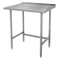 Advance Tabco TFLAG-242 24 inch x 24 inch 16-Gauge 430 Stainless Steel Economy Work Table with 1 1/2 inch Backsplash and Galvanized Legs