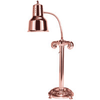 Hanson Heat Lamps SLM/RB9/ANT/BCOP Single Bulb Flexible Freestanding Heat Lamp with 9 inch Antique Style Round Base and Bright Copper Finish - 115/230V