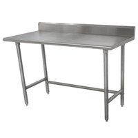 Advance Tabco TKLAG-304 30 inch x 48 inch 16-Gauge 430 Stainless Steel Economy Work Table with 5 inch Backsplash and Galvanized Legs