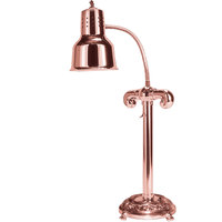 Hanson Heat Lamps SLM/RB12/ANT/BCOP Single Bulb Flexible Freestanding Heat Lamp with 12 inch Antique Style Round Base and Bright Copper Finish - 115/230V
