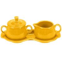 Homer Laughlin 821342 Fiesta Daffodil China Sugar and Creamer Tray Set - 4/Case