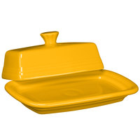 Homer Laughlin 1431342 Fiesta Daffodil Extra Large Covered China Butter Dish - 4/Case