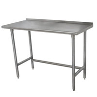 Advance Tabco TFLAG-302 30 inch x 24 inch 16-Gauge 430 Stainless Steel Economy Work Table with 1 1/2 inch Backsplash and Galvanized Legs