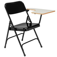 National Public Seating 5210L Black Steel Premium Folding Chair with Left Gray Tablet Arm