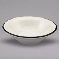Homer Laughlin 533847 Styleline Black 12.25 oz. Scalloped China Grapefruit Bowl - 36/Case
