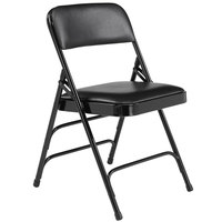 National Public Seating 1310 Black Metal Folding Chair with 1 1/4 inch Caviar Black Vinyl Padded Seat
