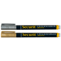 American Metalcraft BLSMA100V2GDSL Securit All-Purpose Mini Tip Gold / Silver Chalk Markers - 2/Pack