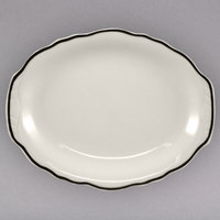 Homer Laughlin 526847 Styleline Black 11 3/4 inch Oval Scalloped China Platter - 12/Case