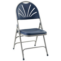 National Public Seating 1115 Gray Metal Folding Chair with Dark Blue Plastic Seat