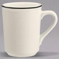 Homer Laughlin 130847 Styleline Black 8.25 oz. Scalloped China Denver Mug - 36/Case