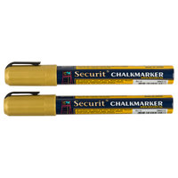 American Metalcraft BLSMA510GD Securit All-Purpose Small Tip Gold Chalk Markers - 2/Pack