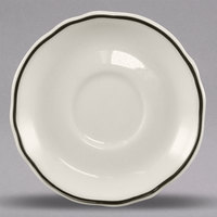 Homer Laughlin 579847 Styleline Black 4 3/4 inch Scalloped China A.D. Saucer - 36/Case