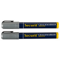 American Metalcraft BLSMA510SL Securit All-Purpose Small Tip Silver Chalk Markers - 2/Pack