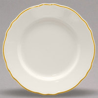 Homer Laughlin HLC548828 Styleline Gold 10 5/8 inch Scalloped China Plate - 12/Case