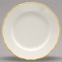Homer Laughlin 548828 Styleline Gold 10 5/8 inch Scalloped China Plate - 12/Case