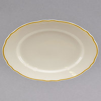 Homer Laughlin 151828 Styleline Gold 7 1/4 inch Oval Scalloped China Rolled Edge Platter - 36/Case